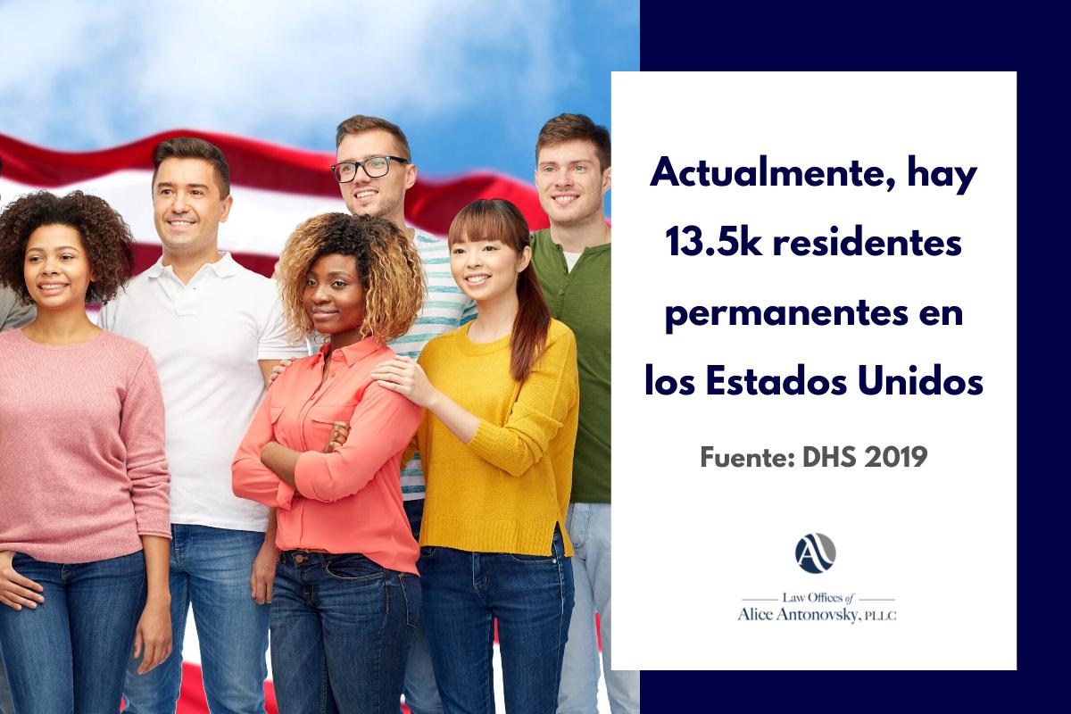 numero de residentes permanentes en Estados Unidos
