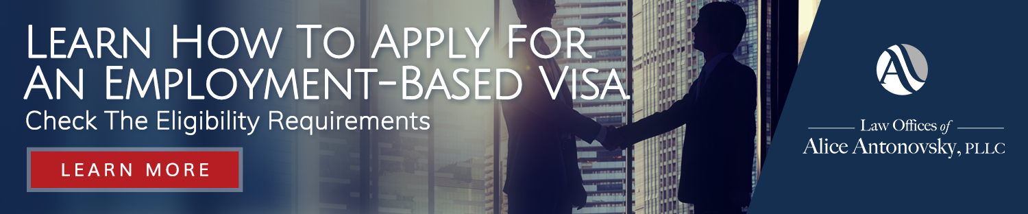 a banner to the employment based visa page